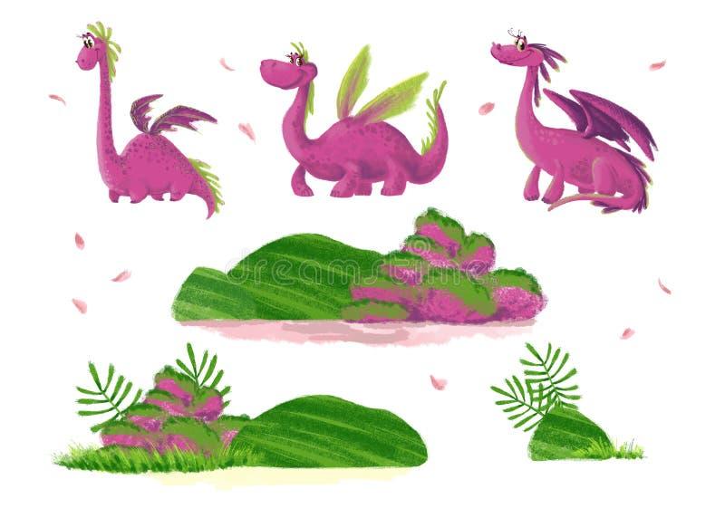 Portrait drôle artistique tiré par la main de dinosaure avec des éléments de nature d'isolement sur le fond blanc illustration de vecteur