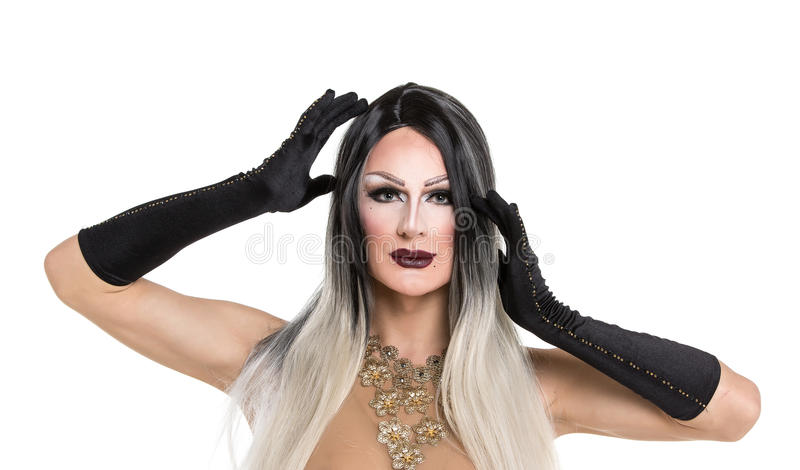 Portrait of drag queen. Man dressed as Woman royalty free stock photos