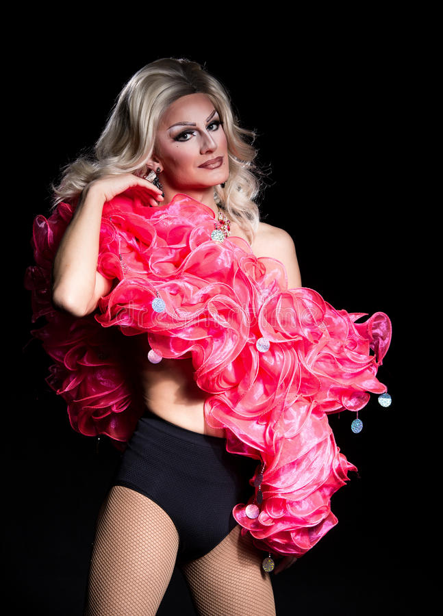 Portrait of Drag Queen. Man Dressed as Woman royalty free stock image