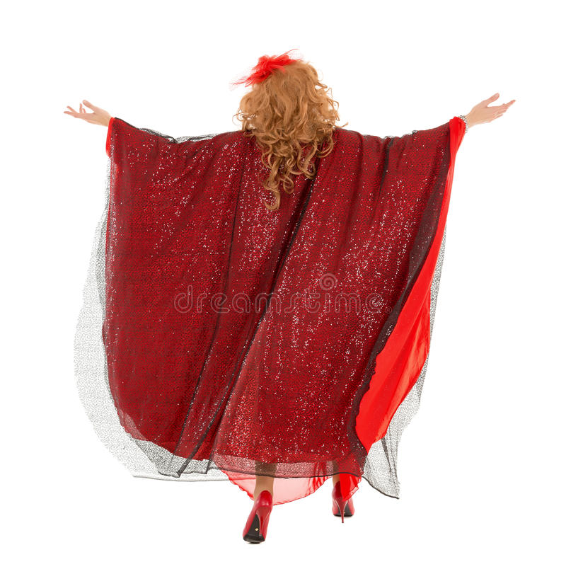 Portrait Drag Queen in Woman Dress View from Back. On white background royalty free stock photography