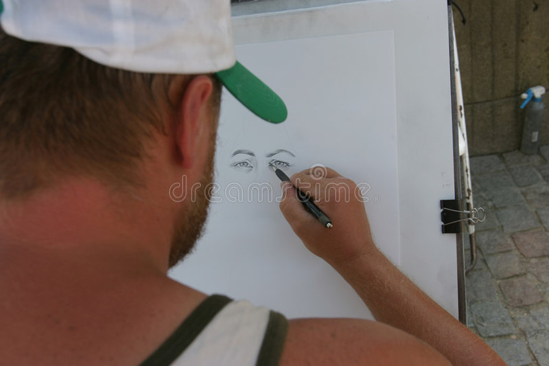 Download Portrait drawer stock photo. Image of male, body, hair, painting - 10570
