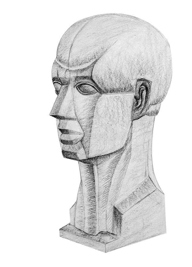 Portrait drawing 45 angle stock image