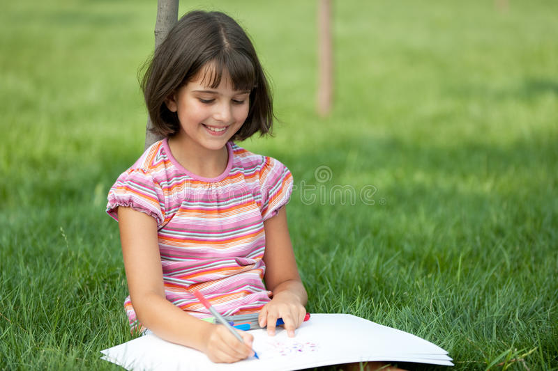 Download Portrait of a drawing girl stock photo. Image of outside - 15614280