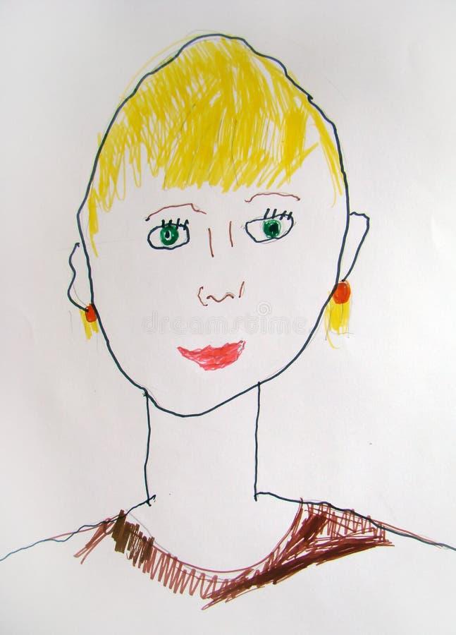 Portrait drawn by child stock photo