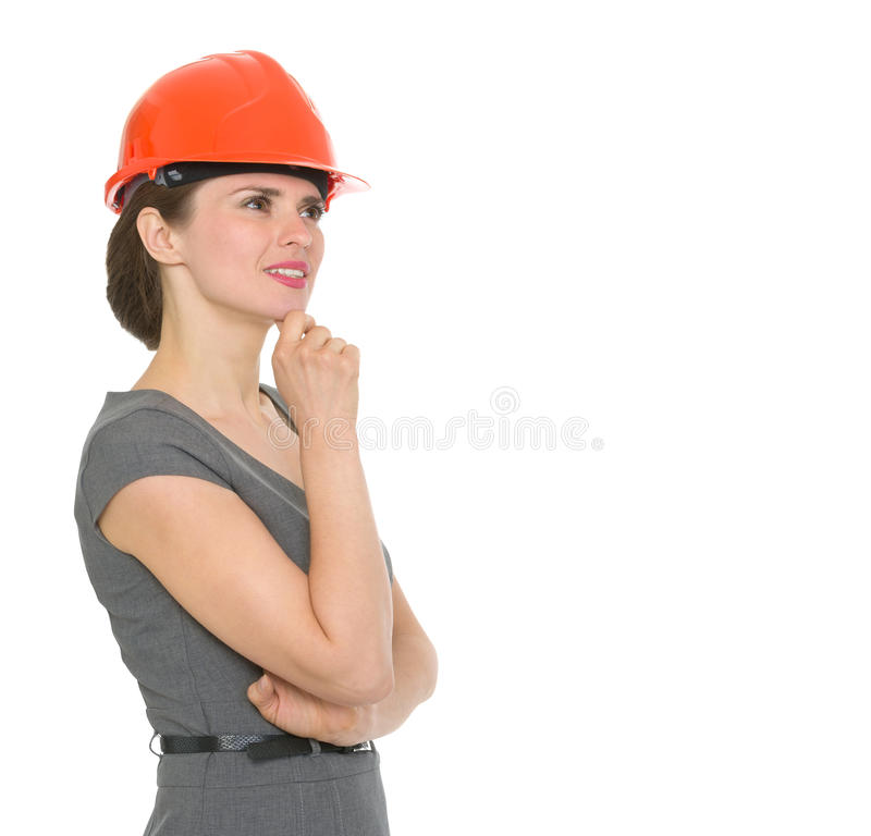 Download Portrait Of Dreaming Architect Woman In Helmet Stock Photo - Image: 24359406