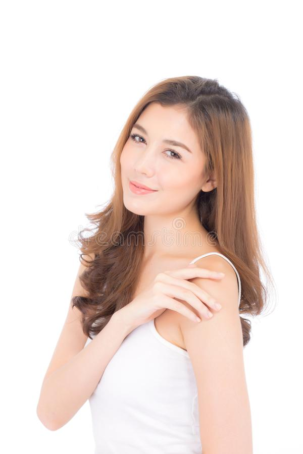 Portrait du beau maquillage asiatique de femme du cosmétique, beauté de la fille avec attrayant de sourire de visage d'isolement  image libre de droits