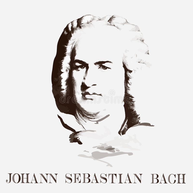 Portrait du compositeur Johann Sebastian Bach illustration libre de droits