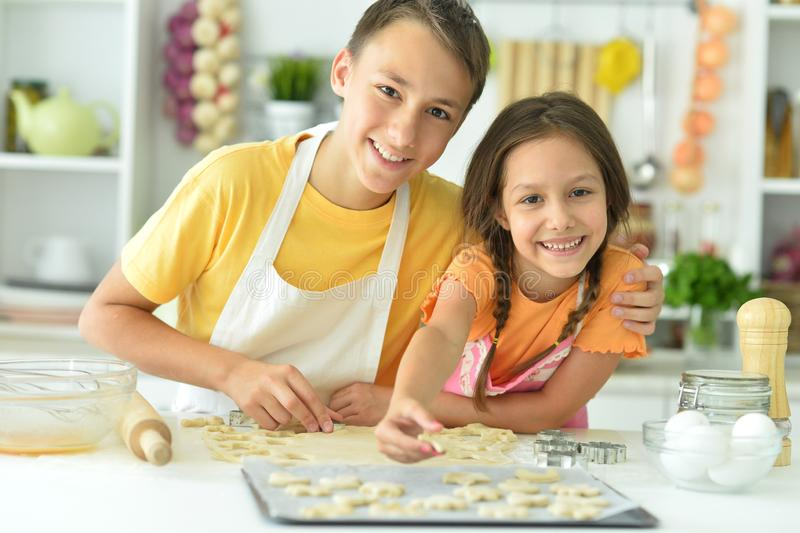 Portrait du frère et de la soeur qui cuisinent ensemble image libre de droits