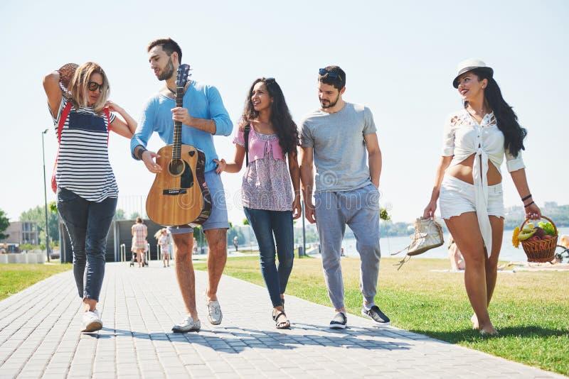 Portrait du groupe d'amis allant à sur la plage Groupe mixte d'amis marchant sur la plage le jour d'été photos libres de droits