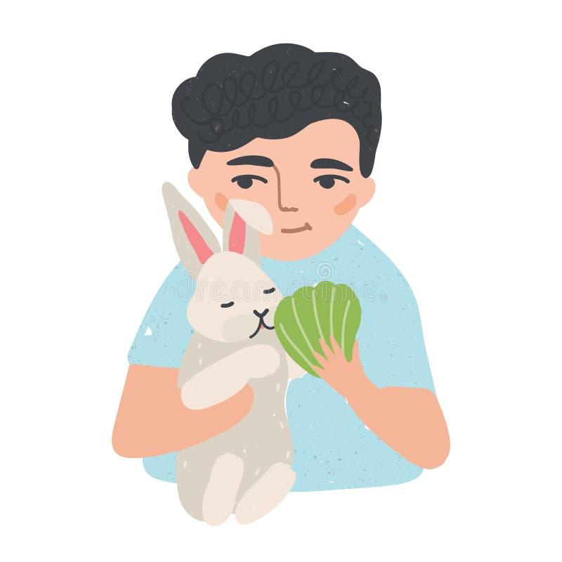 Portrait du jeune homme ou du garçon tenant son lapin ou lapin et l'alimentant Personnage de dessin animé masculin adorable avec  illustration stock