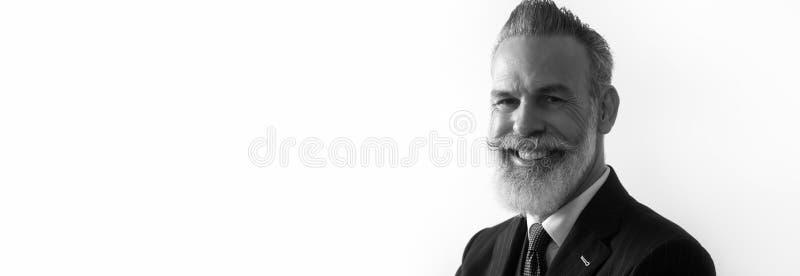 Portrait du monsieur de sourire barbu portant le costume à la mode au-dessus du fond blanc vide Copiez l'espace des textes de pât image libre de droits