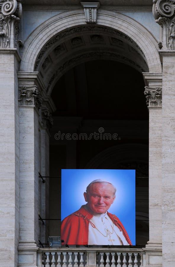Portrait du pape Jean XXIII sur la basilique photographie stock