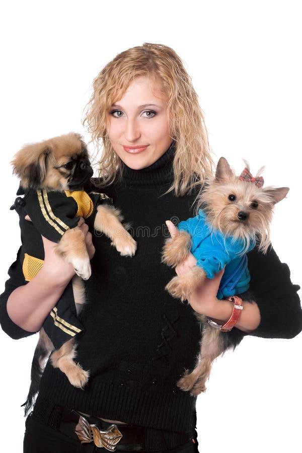 Portrait du sourire assez blond avec deux chiens. D'isolement photos stock