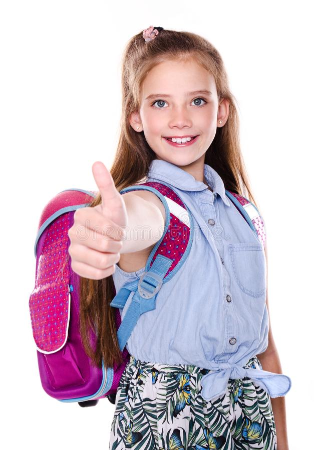 Portrait du sourire mignon heureux petit adolescent d'enfant de fille d'?cole avec le doigt et le sac ? dos photos stock