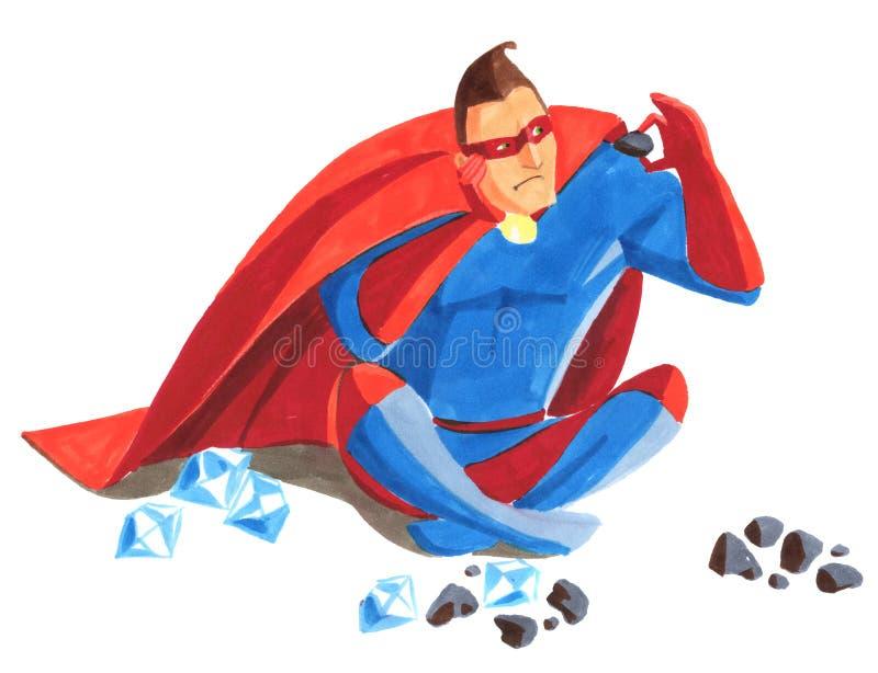 Portrait du super héros qui est reposant et filtrant des pierres illustration de vecteur