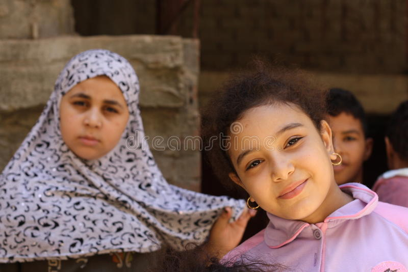 Egyptian children at charity event stock images