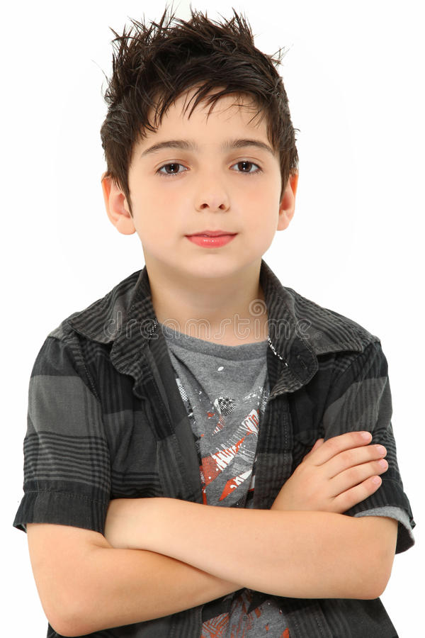 Portrait Eight Year Old Boy Arms Crossed Stock Photography