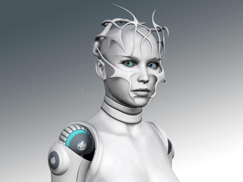 Portrait einer androiden Frau. stock abbildung