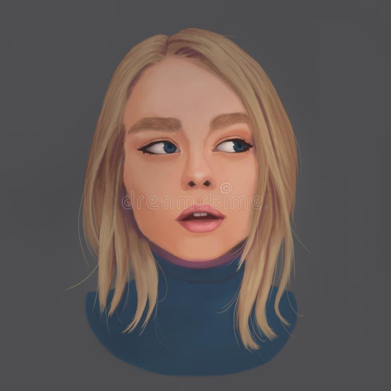 Portrait einer Blondine lizenzfreie abbildung