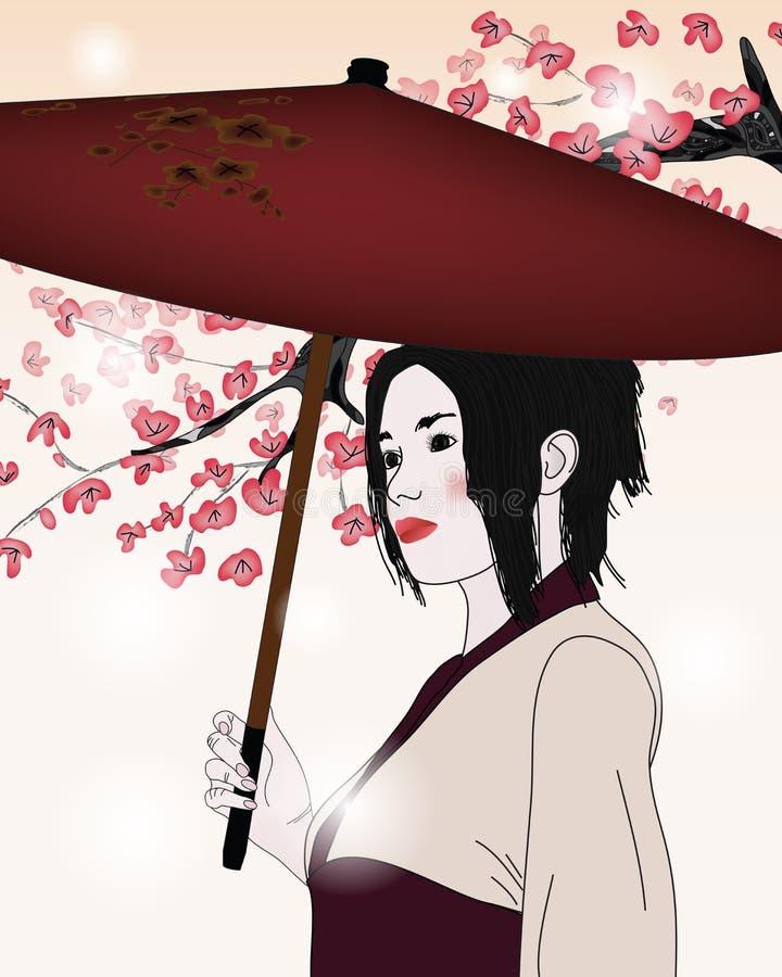 Portrait einer Geisha mit Regenschirm vektor abbildung