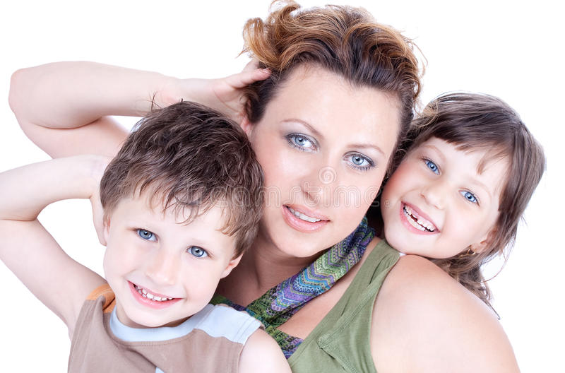 Portrait einer gesunden, attraktiven jungen Familie lizenzfreie stockfotos