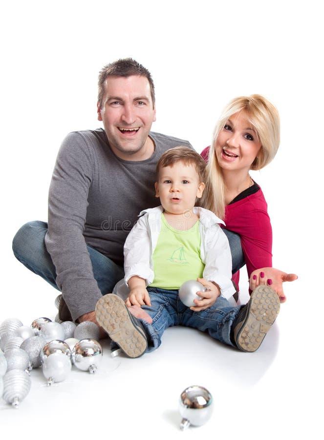 Portrait einer gesunden, attraktiven jungen Familie stockbilder