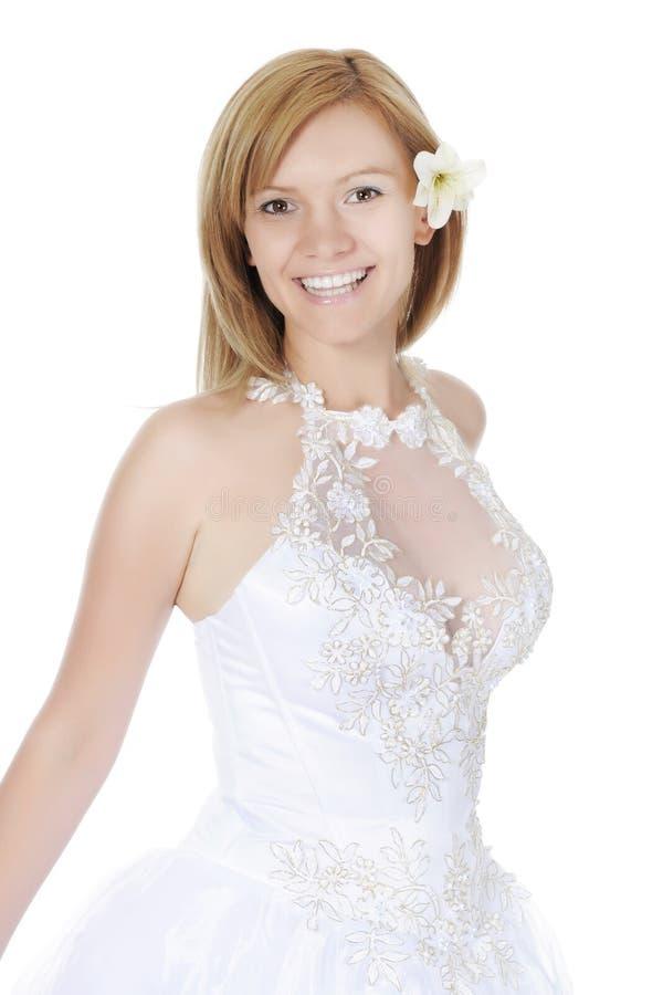 Portrait einer lächelnden Braut lizenzfreie stockfotos
