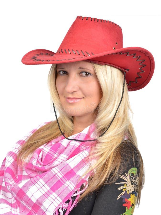Portrait einer schönen Frau mit Cowboyhut stockfotografie