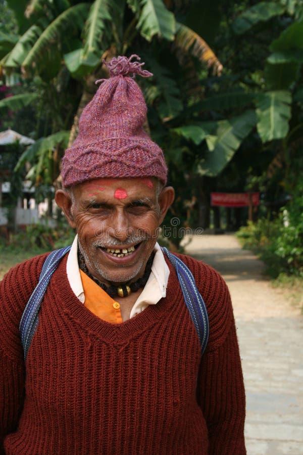 Portrait eines alten Mannes von Nepal lizenzfreie stockfotos