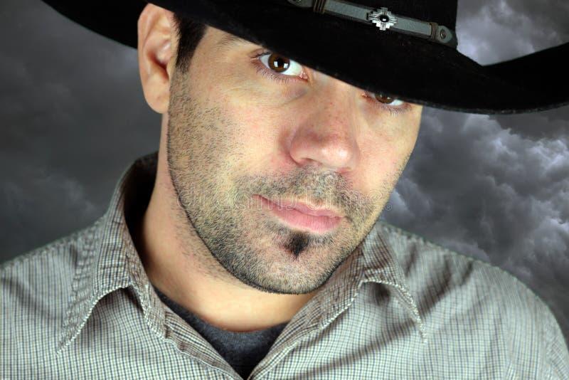 Portrait eines Cowboys stockbild