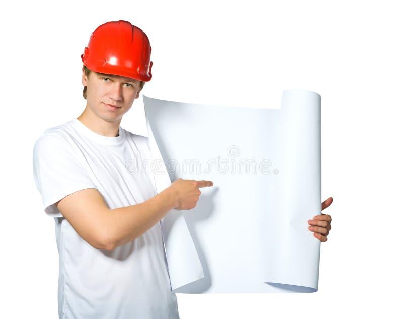 Portrait eines Erbauers stockfoto