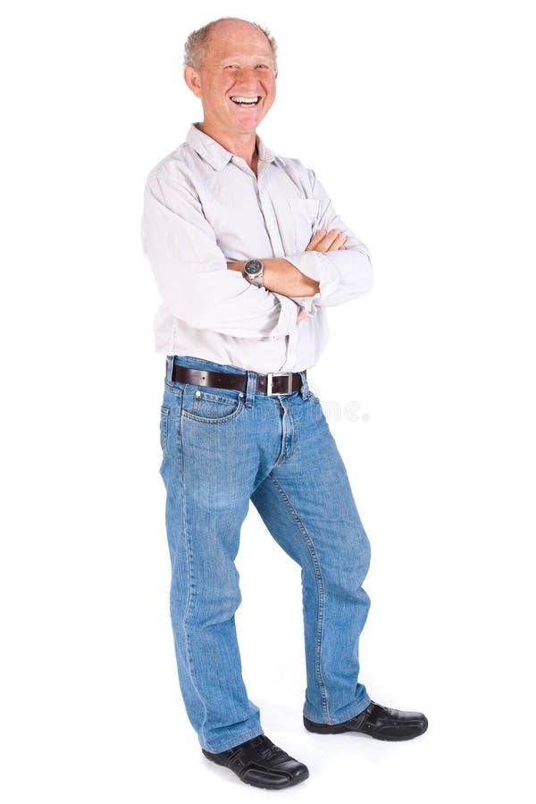 Portrait eines freundlichen älteren Mannes stockfotos