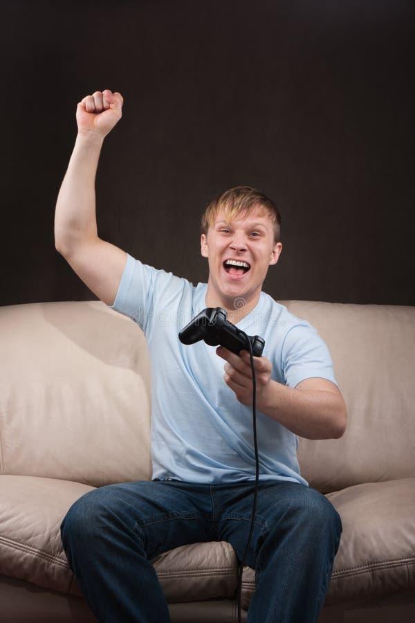 Portrait eines gamer stockfoto