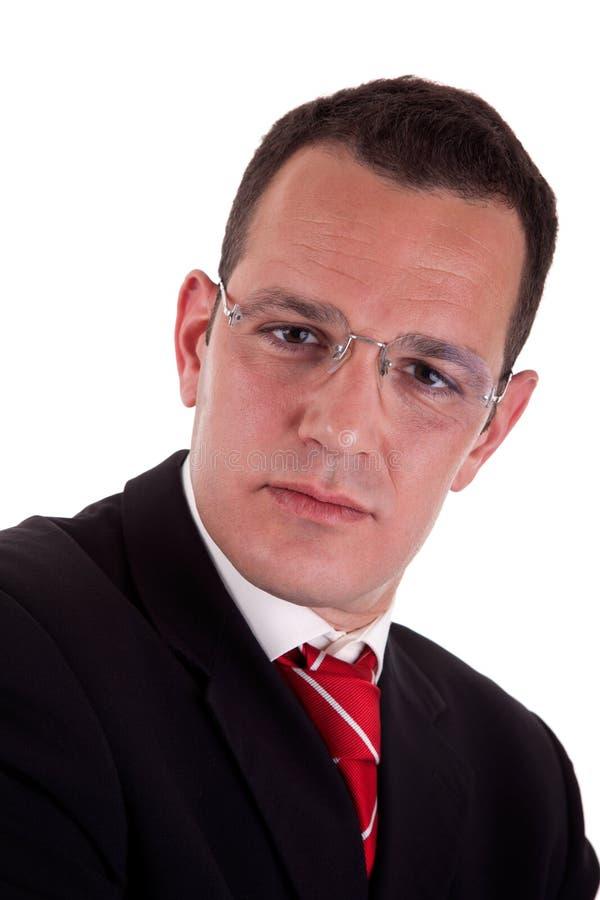 Portrait eines Geschäftsmannes mit Gläsern stockfotos