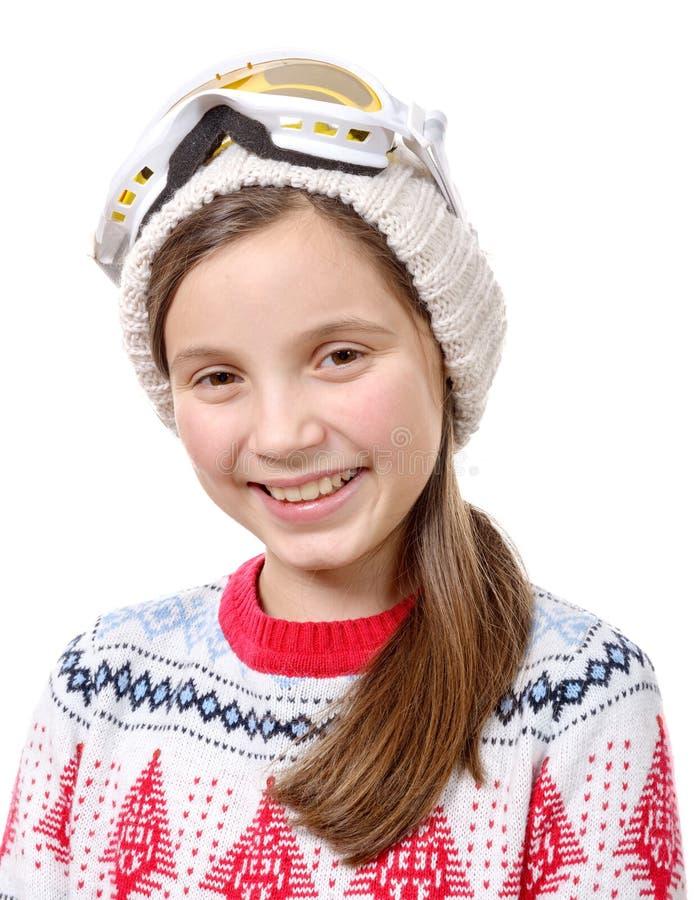 Portrait eines glücklichen Snowboardings des jungen Mädchens stockbilder