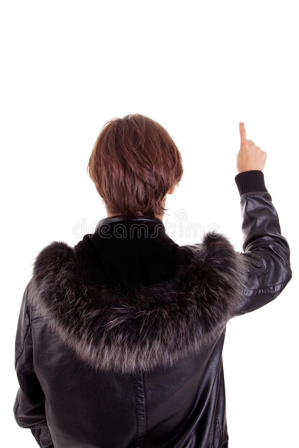 Portrait eines jungen Mannes von der Rückseite mit einem Finger lizenzfreie stockbilder