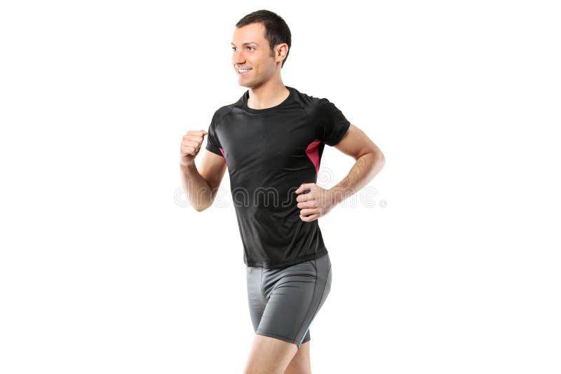 Portrait eines männlichen Athletenbetriebs stockbilder