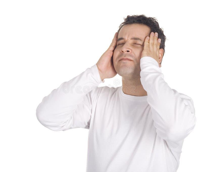 Portrait eines Mannes mit Kopfschmerzen stockfotos