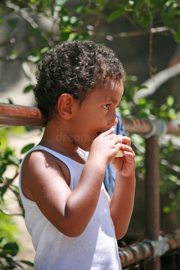 Portrait eines netten Jungen, der einen Apfel isst stockbild