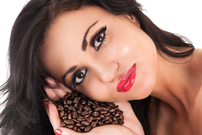 Portrait eines schönen Brunette stockfotos