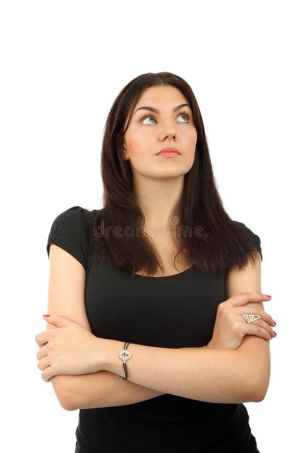 Portrait eines schönen Denkens der jungen Frau lizenzfreie stockfotografie