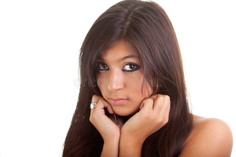 Portrait eines schönen traurigen Mädchens getrennt auf Weiß stockbild