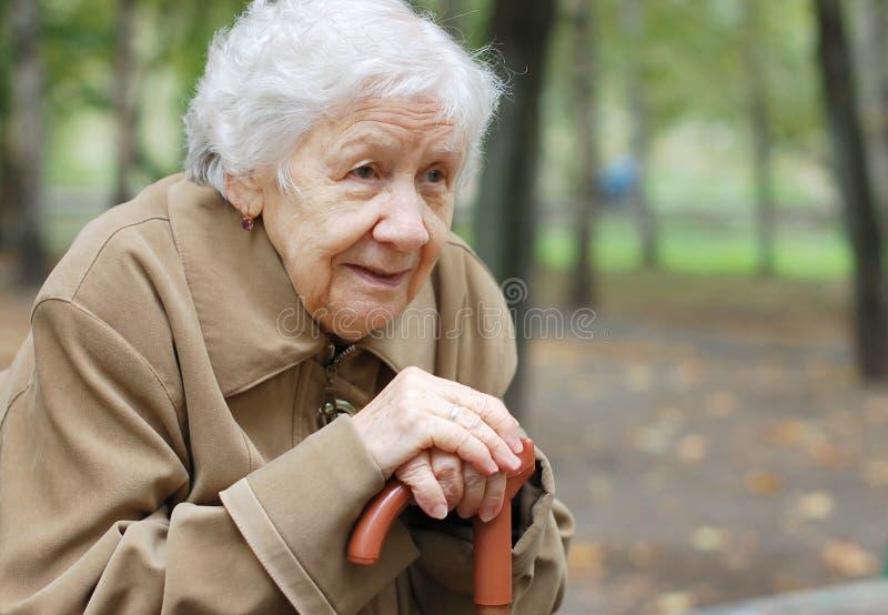 Portrait of an elder woman stock images