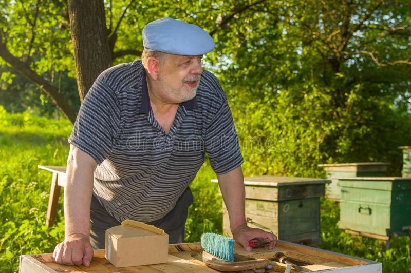 Portrait of elderly bee-keeper on an apiary stock photo