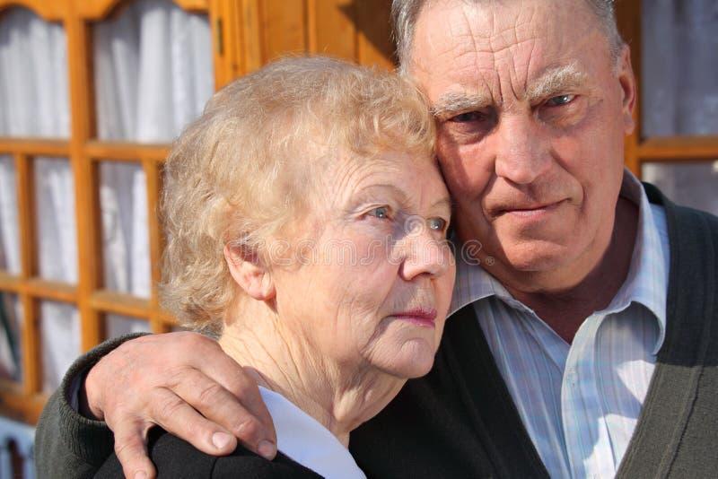 Portrait of elderly couple closeup royalty free stock photos