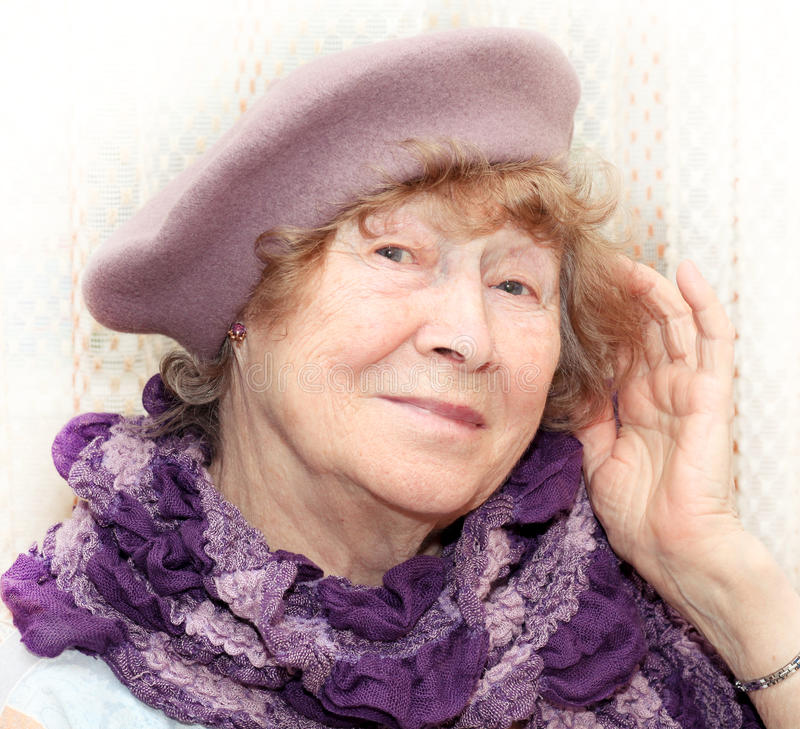 Portrait of elderly happy woman royalty free stock images