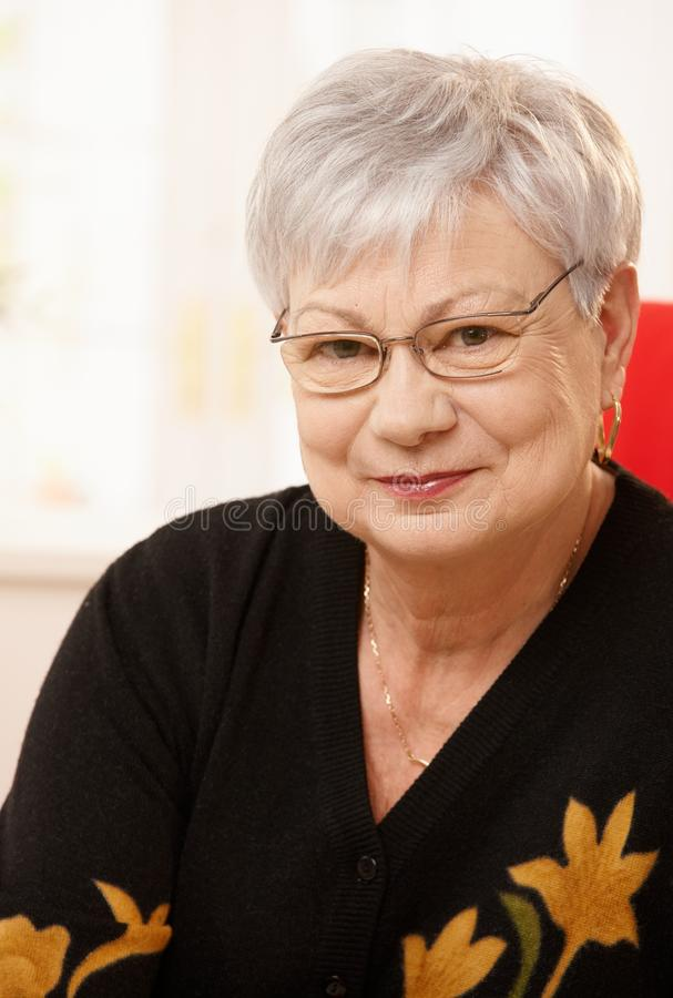 Portrait of elderly lady. Closeup portrait of nice elderly lady wearing glasses, looking at camera, smiling stock photography