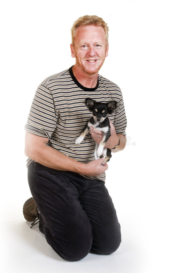 Portrait From Elderly Man With Dog Stock Photos
