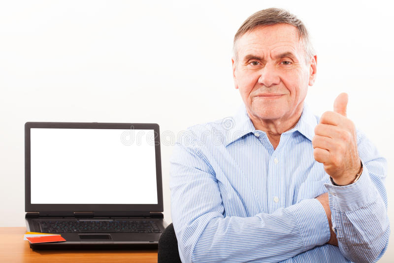 Portrait of elderly man smiling royalty free stock photo
