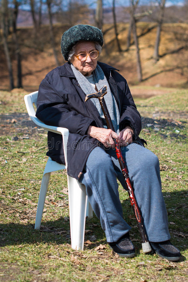 Portrait of the elderly woman stock photography